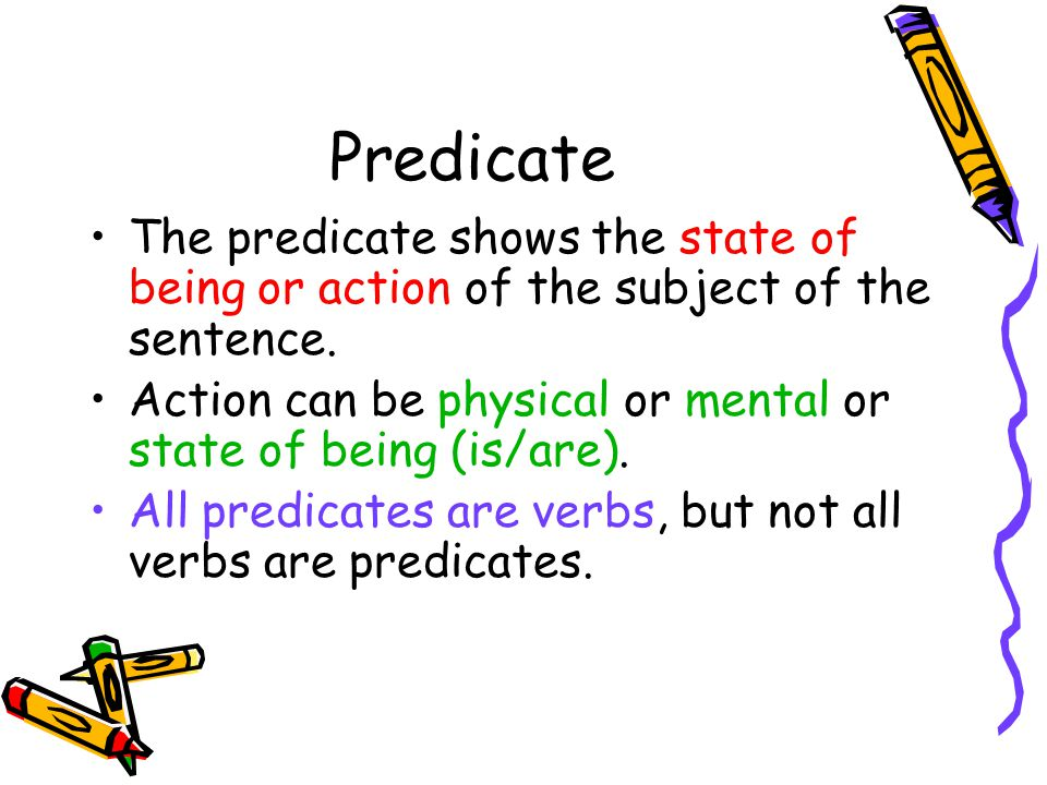 Predicate The predicate shows the state of being or action of the subject of the sentence. Action can be physical or mental or state of being (is/are)