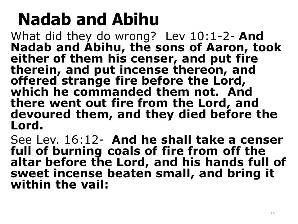 Nadab and Abihu What did they do wrong? Lev 10:1-2- And Nadab and Abihu, the sons of Aaron, took either of them his censer, and put fire therein, and