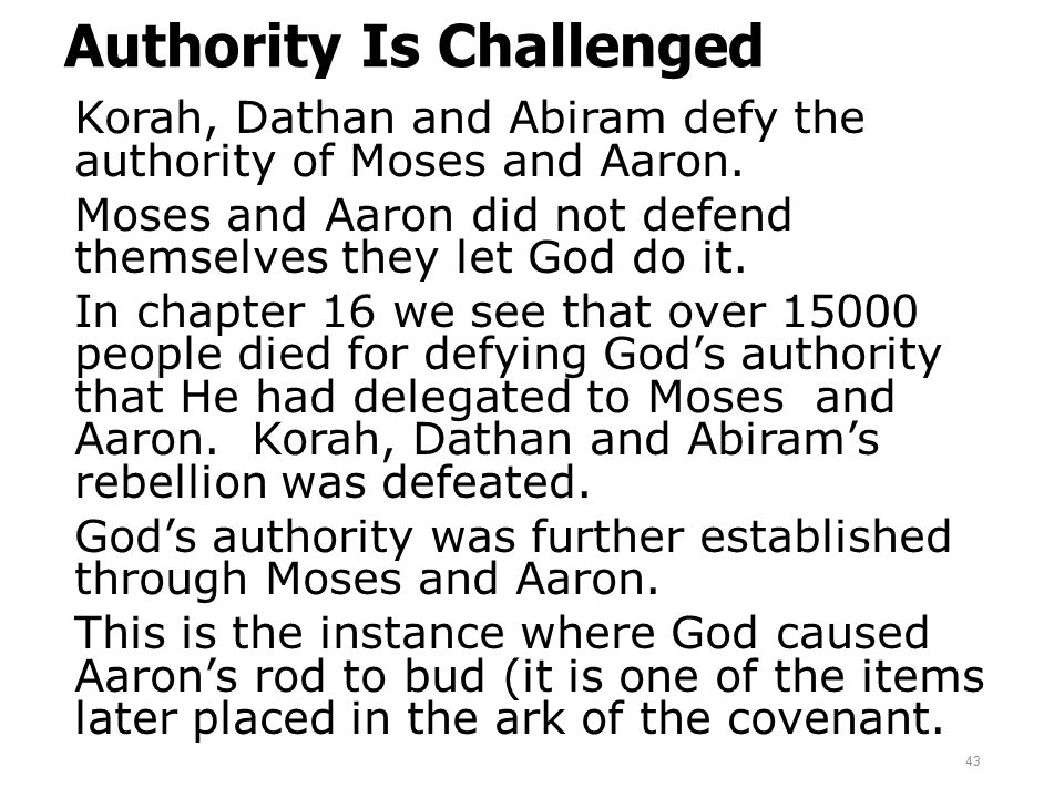 Authority Is Challenged Korah, Dathan and Abiram defy the authority of Moses and Aaron. Moses and Aaron did not defend themselves they let God do it.