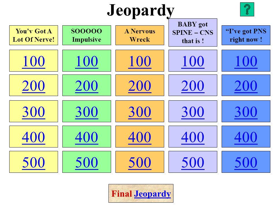 Jeopardy 100 200 300 400 500 100 200 300 400 500 100 200 300 400 500 100 200 300 400 500 100 200 300 400 500 You'v Got A Lot Of Nerve.