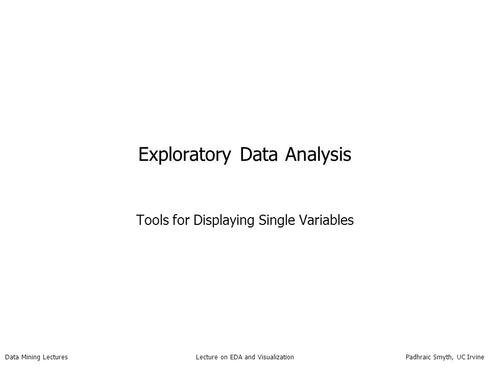 Data Mining Lectures Lecture on EDA and Visualization Padhraic Smyth, UC Irvine Problems with Scatter Plots of Large Data 96,000 bank loan applicants appears: later apps older; reality: downward slope (more apps, more variance) scatter plot degrades into black smudge...