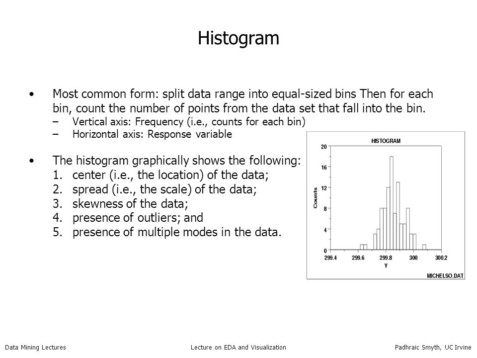 Data Mining Lectures Lecture on EDA and Visualization Padhraic Smyth, UC Irvine Histogram Most common form: split data range into equal-sized bins The