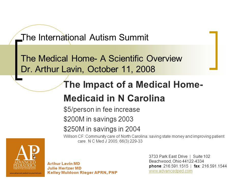 The International Autism Summit The Medical Home- A Scientific Overview Dr.