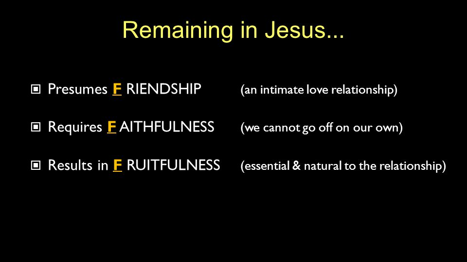 Remaining in Jesus...