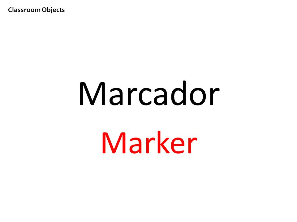 Classroom Objects Marcador Marker