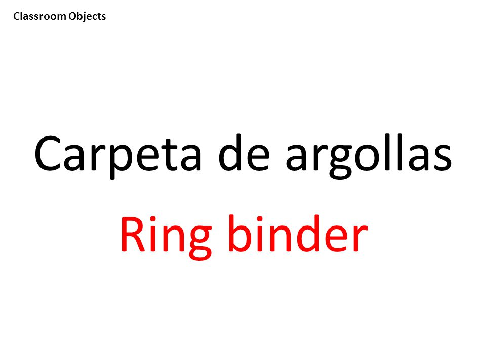 Classroom Objects Carpeta de argollas Ring binder