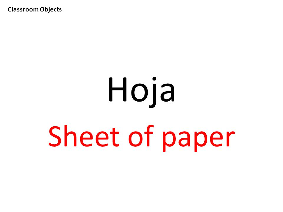 Classroom Objects Hoja Sheet of paper
