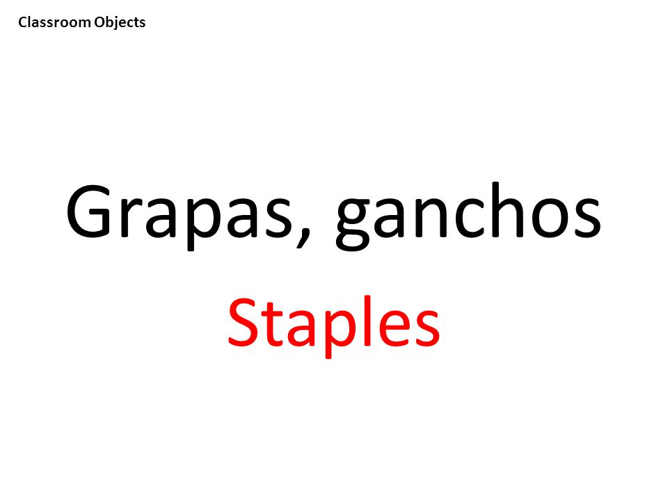 Classroom Objects Grapas, ganchos Staples