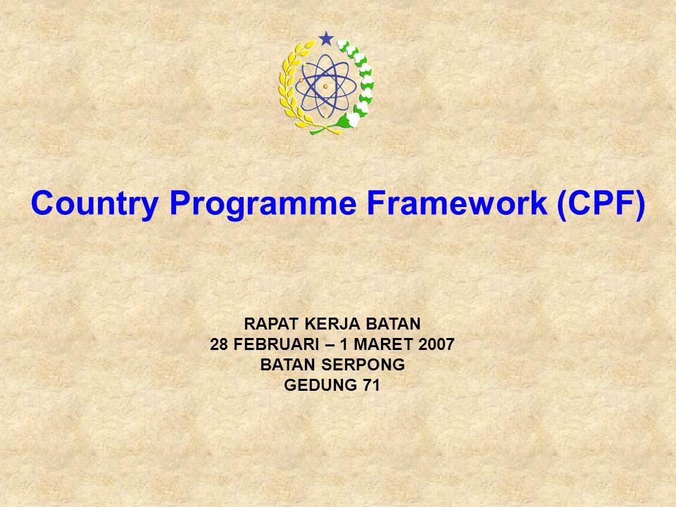 Country Programme Framework (CPF) RAPAT KERJA BATAN 28 FEBRUARI – 1 MARET 2007 BATAN SERPONG GEDUNG 71