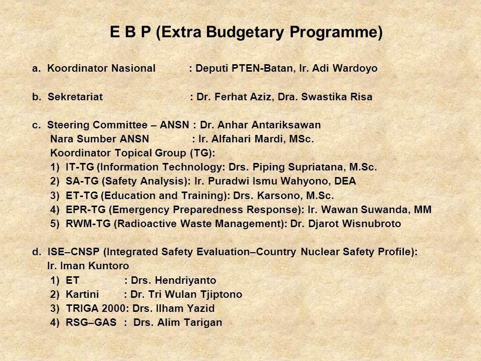 E B P (Extra Budgetary Programme) a. Koordinator Nasional : Deputi PTEN-Batan, Ir.