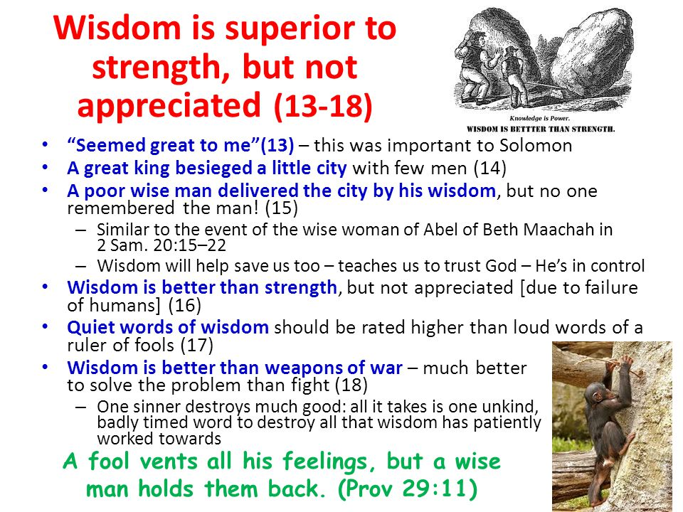 Wisdom is superior to strength, but not appreciated (13-18) Seemed great to me (13) – this was important to Solomon A great king besieged a little city with few men (14) A poor wise man delivered the city by his wisdom, but no one remembered the man.