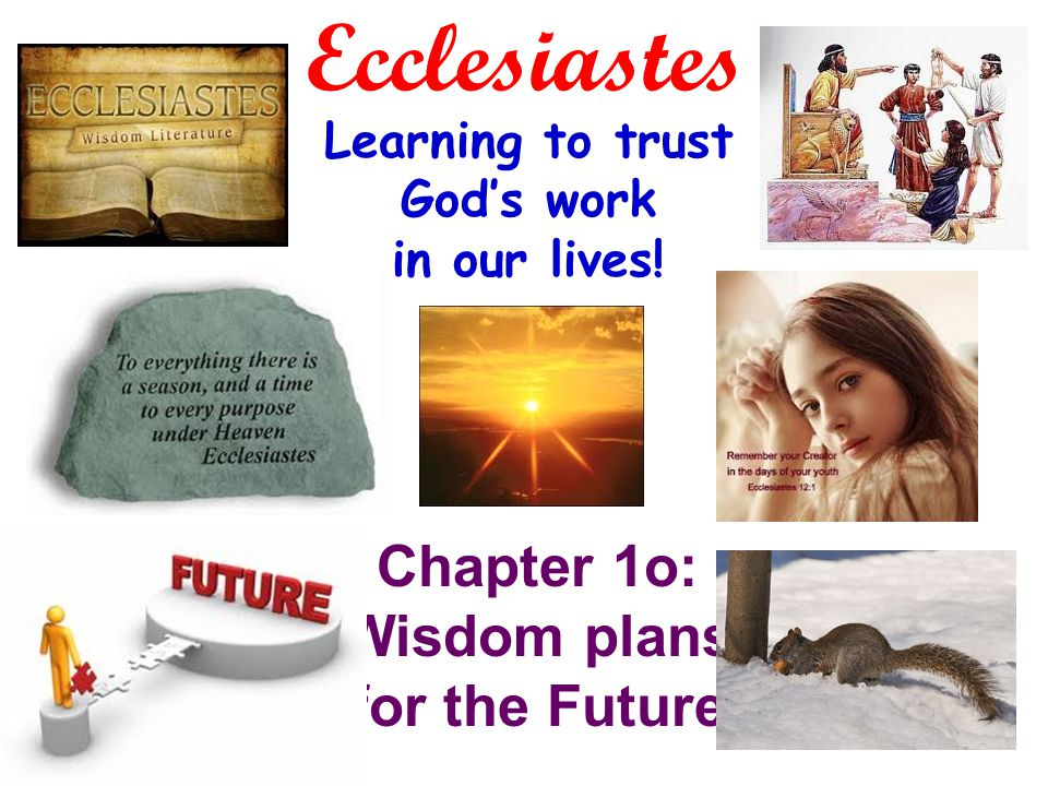 Ecclesiastes Learning to trust God's work in our lives! Chapter 1o: Wisdom plans for the Future