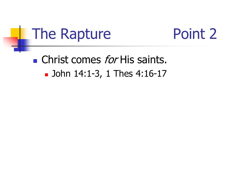 The RapturePoint 2 Christ comes for His saints. John 14:1-3, 1 Thes 4:16-17