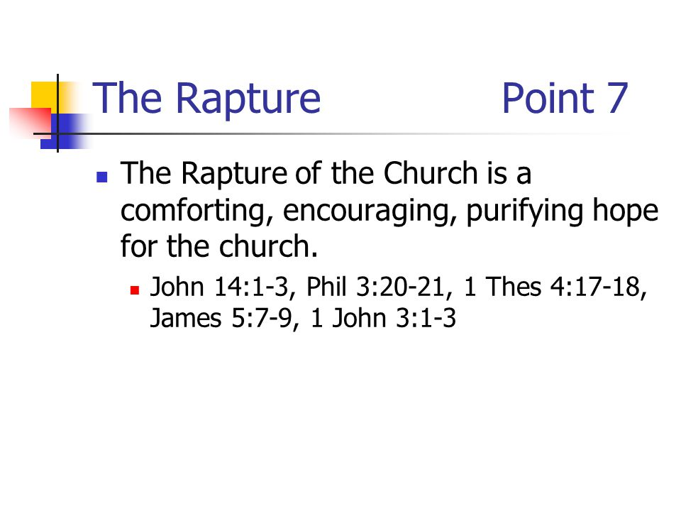 The RapturePoint 7 The Rapture of the Church is a comforting, encouraging, purifying hope for the church.