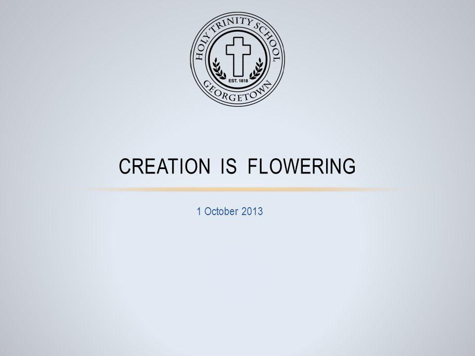 1 October 2013 CREATION IS FLOWERING