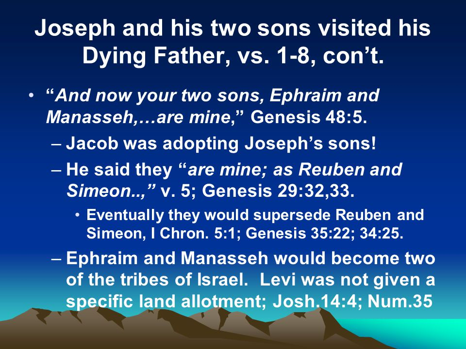 Joseph and his two sons visited his Dying Father, vs.