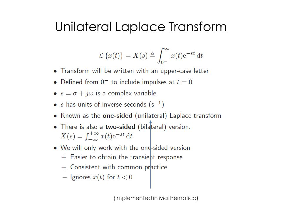 Unilateral Laplace Transform (Implemented in Mathematica)