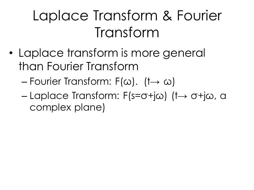Laplace Transform & Fourier Transform Laplace transform is more general than Fourier Transform – Fourier Transform: F(ω). (t→ ω) – Laplace Transform: