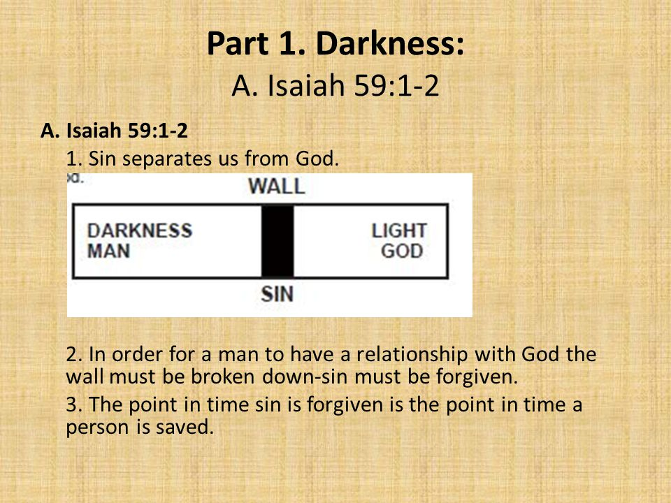 Part 1. Darkness: A. Isaiah 59:1-2 A. Isaiah 59:1-2 1.