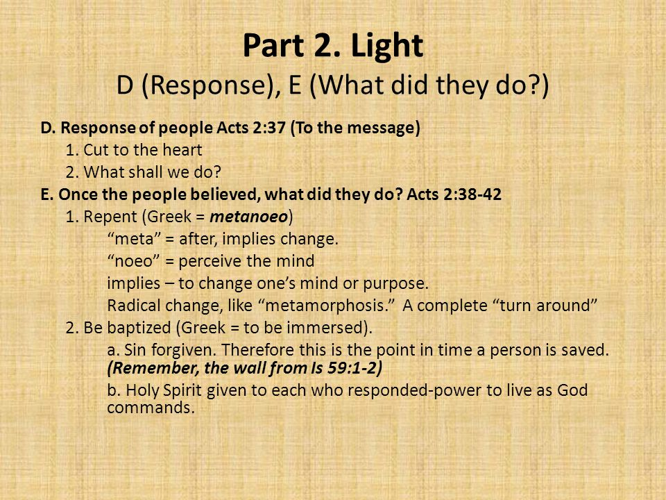 Part 2. Light D (Response), E (What did they do ) D.