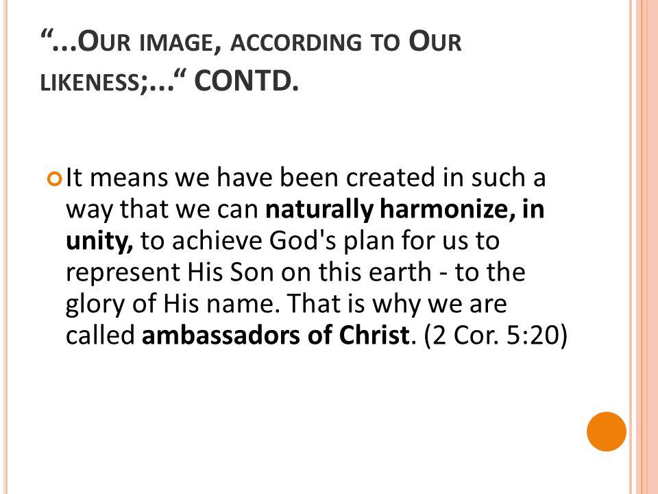 ...O UR IMAGE, ACCORDING TO O UR LIKENESS ;... CONTD.