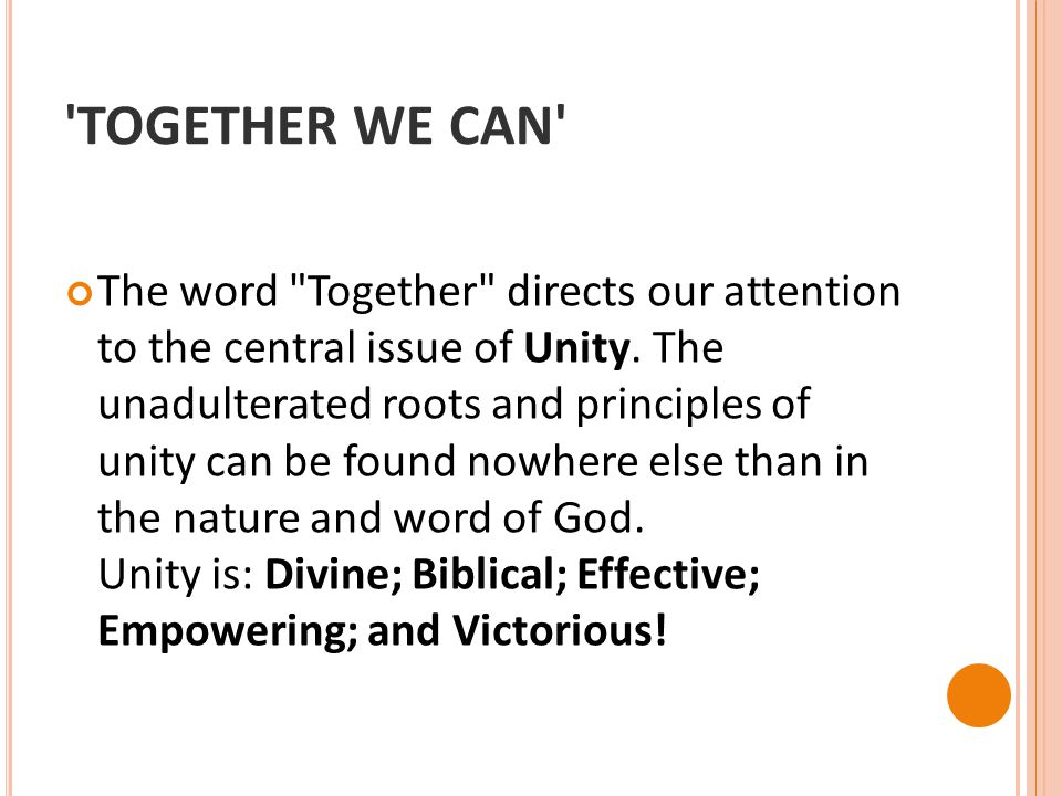 'TOGETHER WE CAN' The word