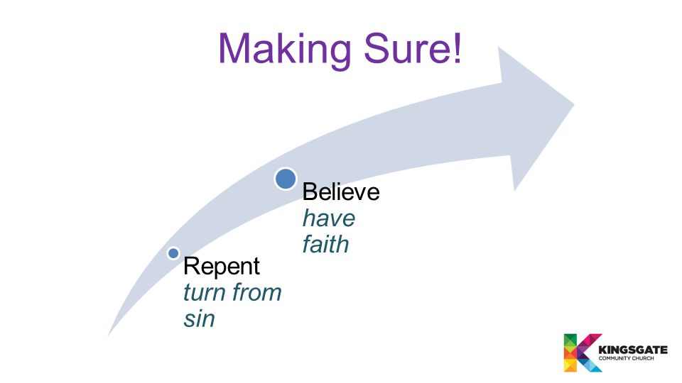 Making Sure! Repent turn from sin Believe have faith