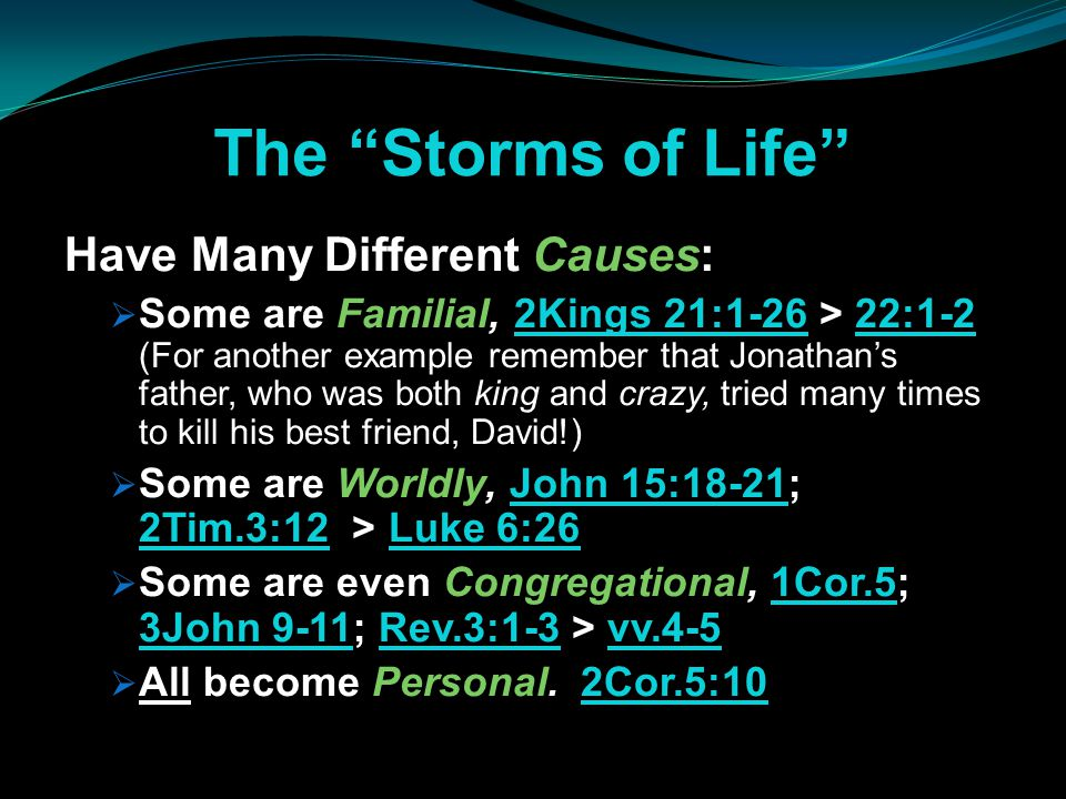 """The """"Storms of Life"""" Have Many Different Causes:  Some are Familial, 2Kings 21:1-26 > 22:1-2 (For another example remember that Jonathan's father, wh"""