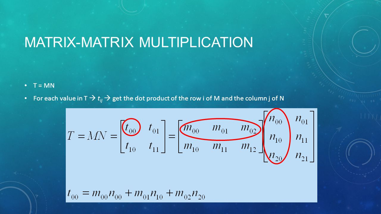 MATRIX-MATRIX MULTIPLICATION T = MN For each value in T  t ij  get the dot product of the row i of M and the column j of N