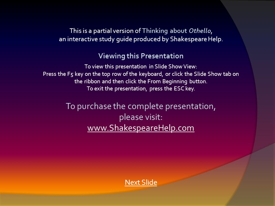 This is a partial version of Thinking about Othello, an interactive study guide produced by Shakespeare Help.