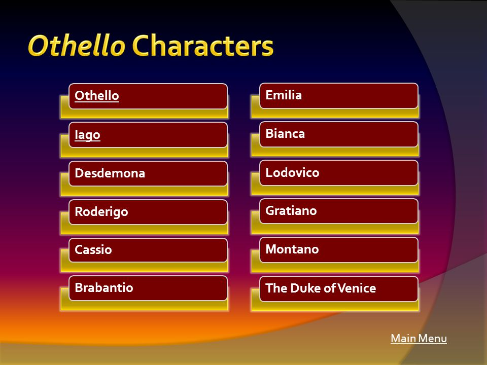 Main Menu OthelloIagoDesdemonaRoderigo Cassio BrabantioEmiliaBiancaLodovicoGratianoMontanoThe Duke of Venice