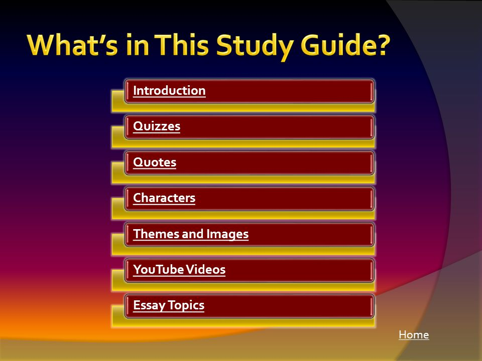 Home IntroductionQuizzesQuotesCharactersThemes and ImagesYouTube VideosEssay Topics