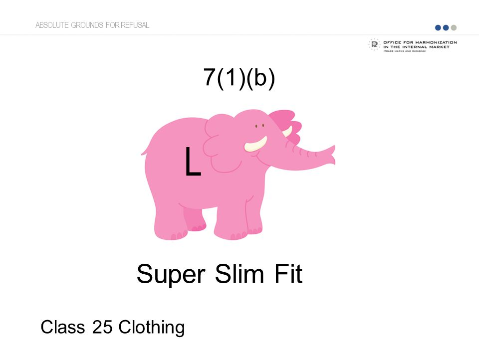 7(1)(b) Super Slim Fit Class 25 Clothing L ABSOLUTE GROUNDS FOR REFUSAL