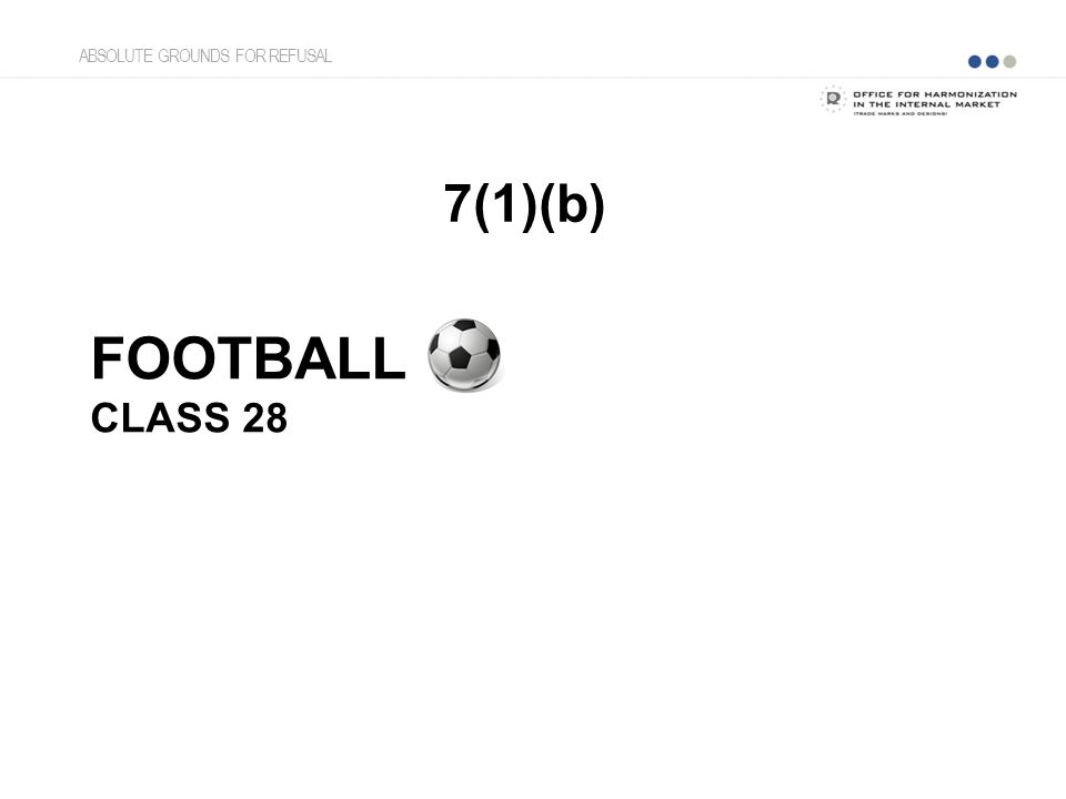 FOOTBALL CLASS 28 7(1)(b) ABSOLUTE GROUNDS FOR REFUSAL