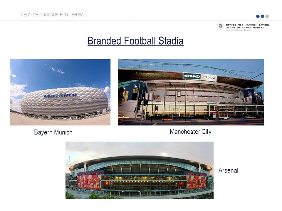 Branded Football Stadia Bayern Munich Arsenal Manchester City RELATIVE GROUNDS FOR REFUSAL