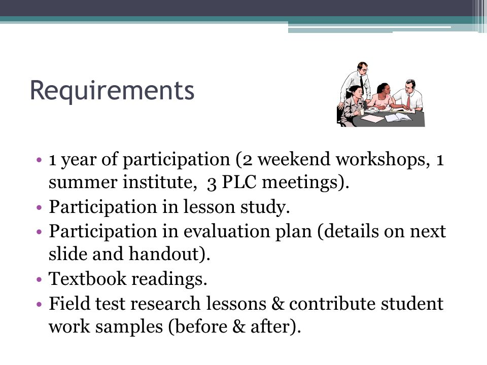 Requirements 1 year of participation (2 weekend workshops, 1 summer institute, 3 PLC meetings).