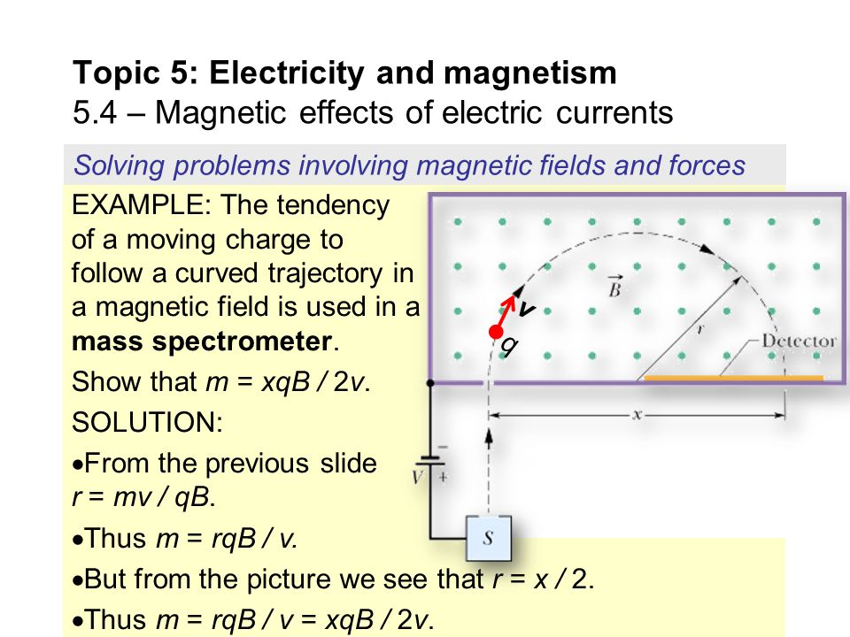 EXAMPLE: The tendency of a moving charge to follow a curved trajectory in a magnetic field is used in a mass spectrometer.  An unknown element is ion