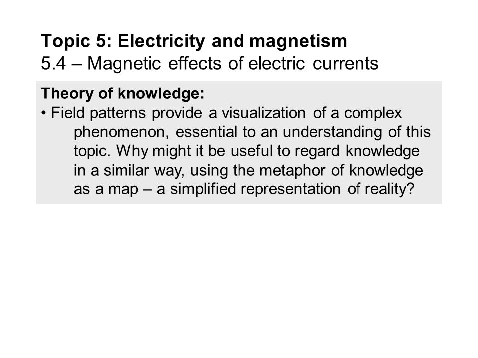 Guidance: Magnetic field patterns will be restricted to long straight conductors, solenoids, and bar magnets Data booklet reference:  F = qvB sin  