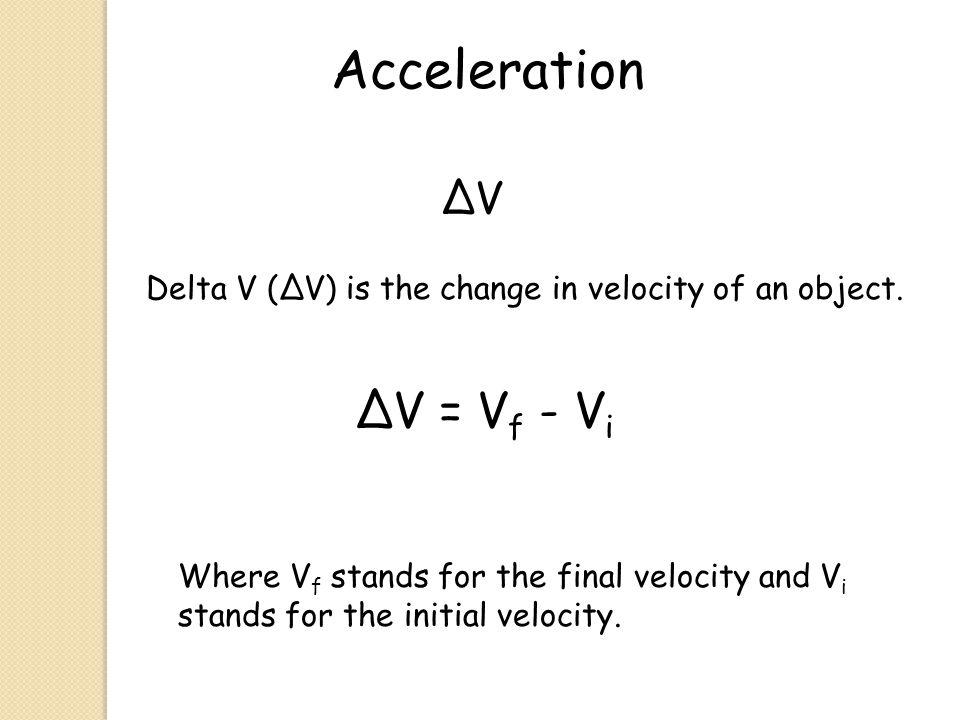 Acceleration ∆V Delta V (∆V) is the change in velocity of an object.