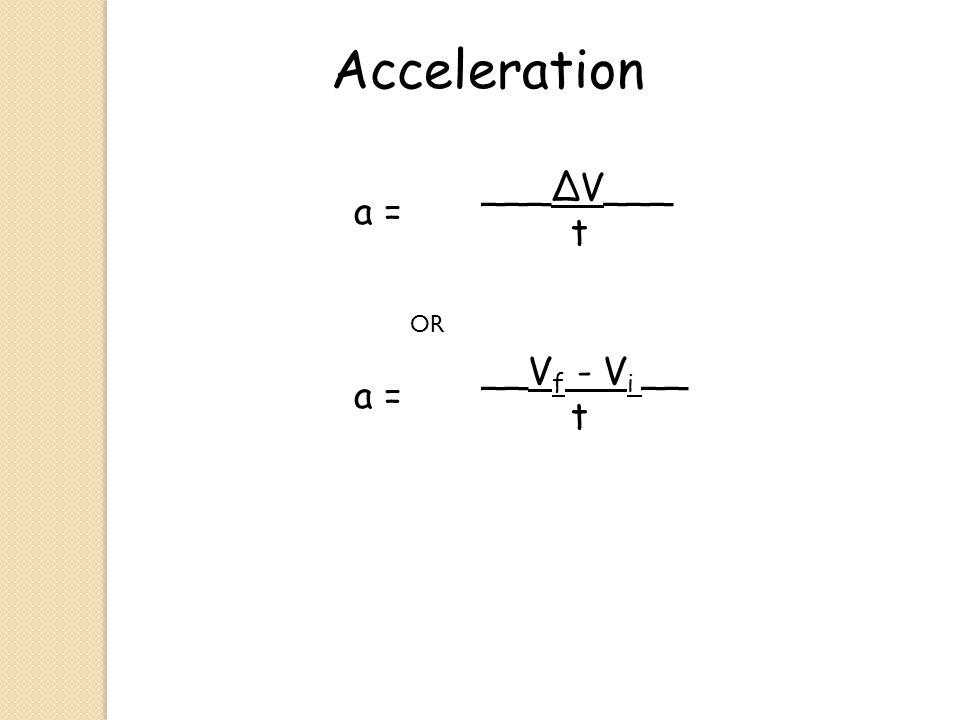 Acceleration a = ___∆V___ t OR a = __V f - V i __ t