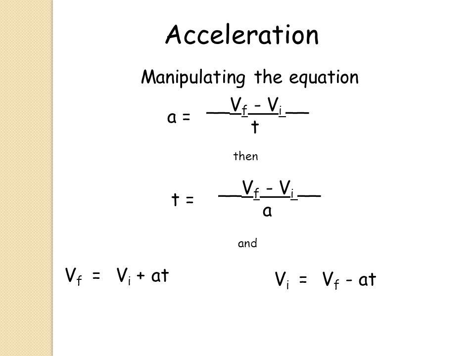 Acceleration a = __V f - V i __ t Manipulating the equation then t = __V f - V i __ a V f =V i + at and V i =V f - at