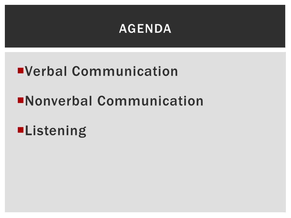  Verbal Communication  Nonverbal Communication  Listening AGENDA