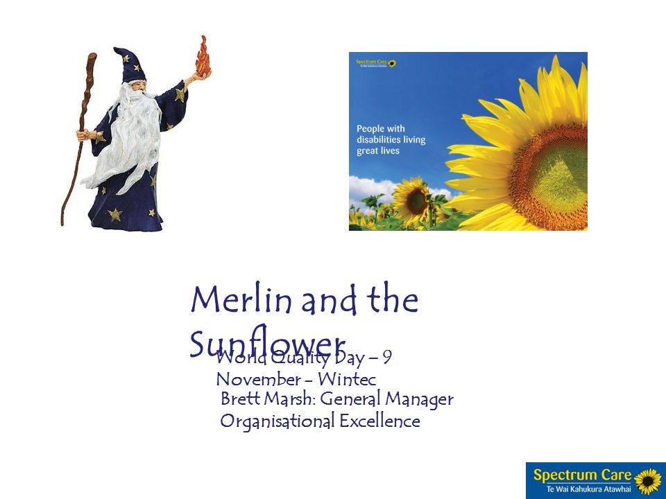 Merlin and the Sunflower World Quality Day – 9 November - Wintec Brett Marsh: General Manager Organisational Excellence