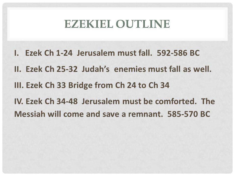 EZEKIEL OUTLINE I. Ezek Ch 1-24 Jerusalem must fall. 592-586 BC II. Ezek Ch 25-32 Judah's enemies must fall as well. III. Ezek Ch 33 Bridge from Ch 24