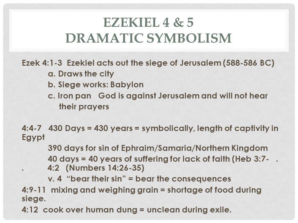 EZEKIEL 4 & 5 DRAMATIC SYMBOLISM Ezek 4:1-3 Ezekiel acts out the siege of Jerusalem (588-586 BC) a. Draws the city b. Siege works: Babylon c. Iron pan