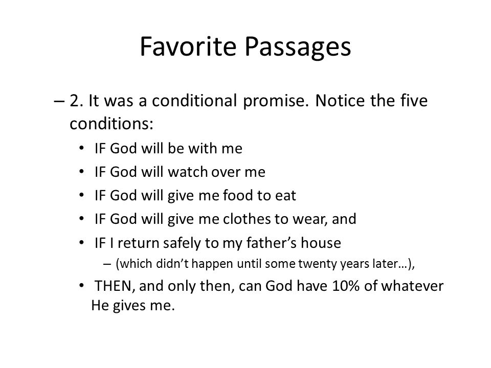 Favorite Passages – 2. It was a conditional promise.