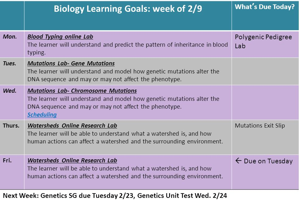 Biology Learning Goals: week of 2/9 What's Due Today.