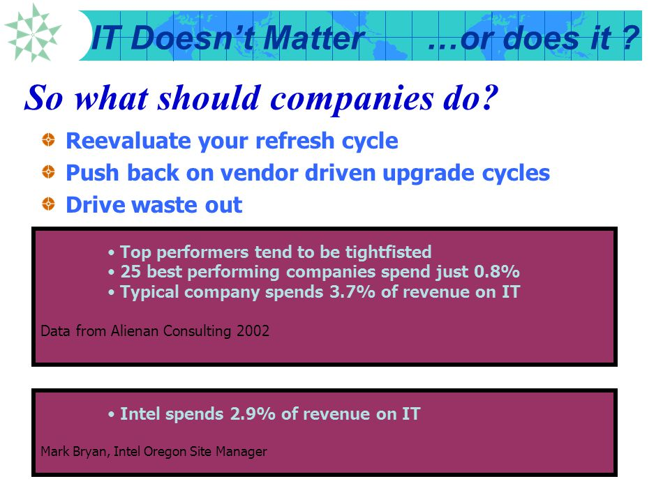 IT Doesn't Matter…or does it ? Intel Business Value Index Chart