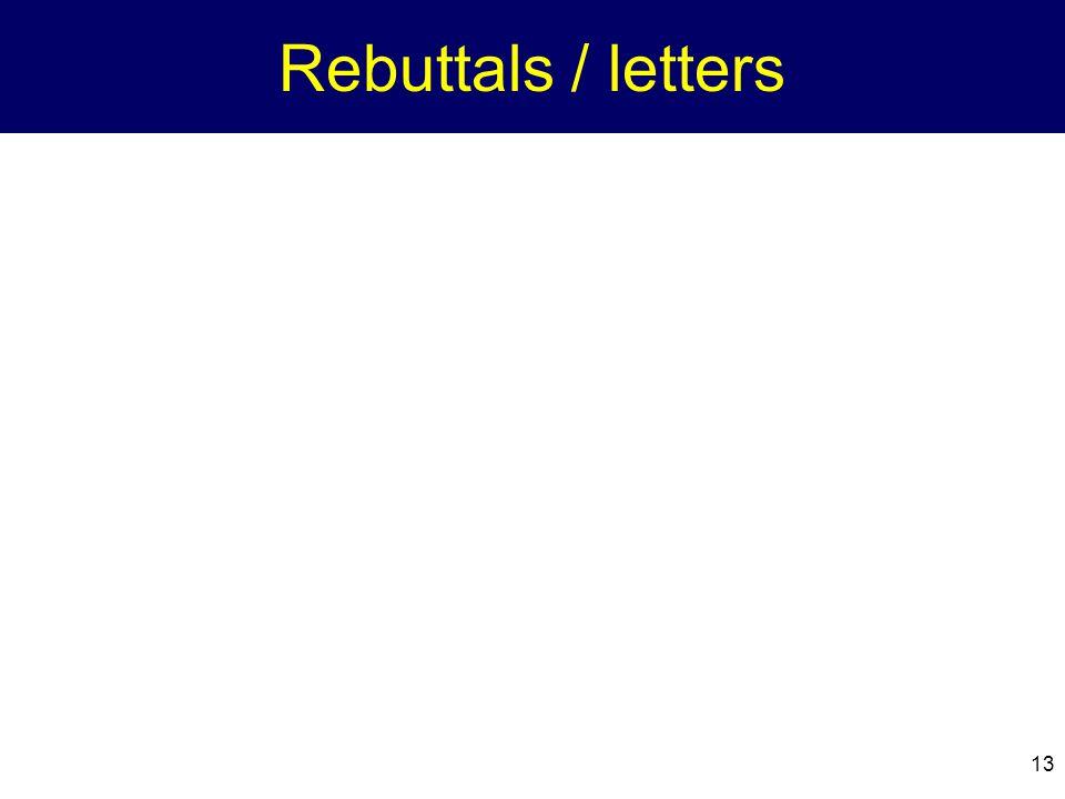 13 Rebuttals / letters