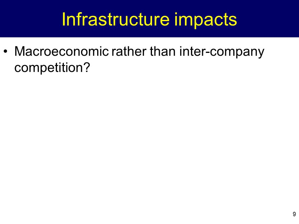 9 Infrastructure impacts Macroeconomic rather than inter-company competition?
